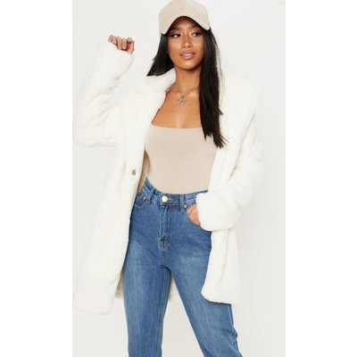 Petite Cream Faux Fur Coat, White