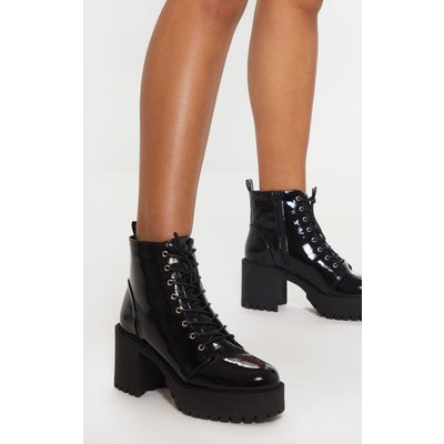 Black Patent Lace Up Chunky Cleated Ankle Boot, Black