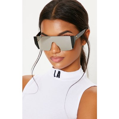 Silver Flat Top Statement Sunglasses, Grey