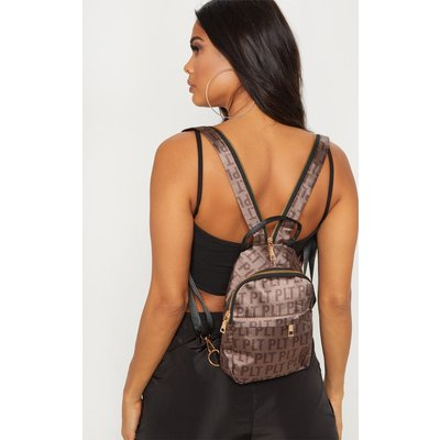 PRETTYLITTLETHING Brown Logo Satin Front Bum Bag, Brown