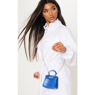 Blue Snake Print Micro Mini Bag, Blue