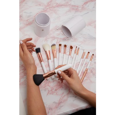 Zoe Ayla 12 Piece White Professional Make-up Brush Set, White