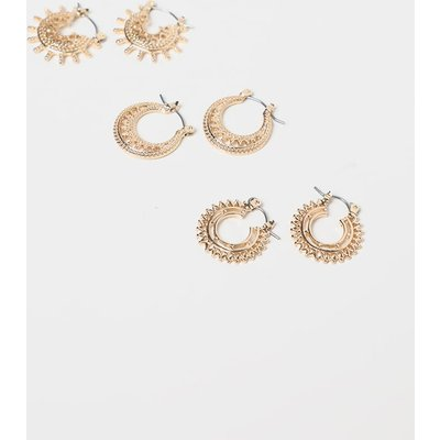 Gold Multi Pack Bevelled Edged Small Hoops, Yellow