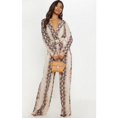 Beige Snake Belt Detail Wide Leg Jumpsuit, Camel