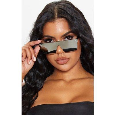 Silver Oversized Resin Frame Fade Lens Sunglasses, Grey