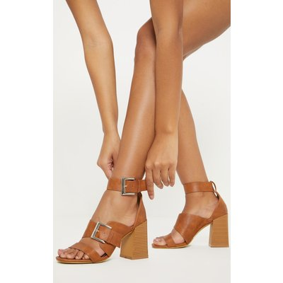 Sand Big Buckle Block Heel Square Toe Sandal, Sand