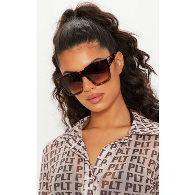 Tortoiseshell Oversized Square Sunglasses, Brown