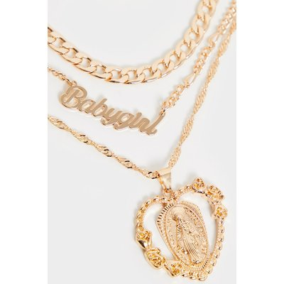 Gold Heart Charm Layering Necklace, Yellow