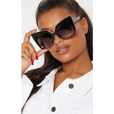 Black Half Tortoiseshell Oversized Sunglasses, Black
