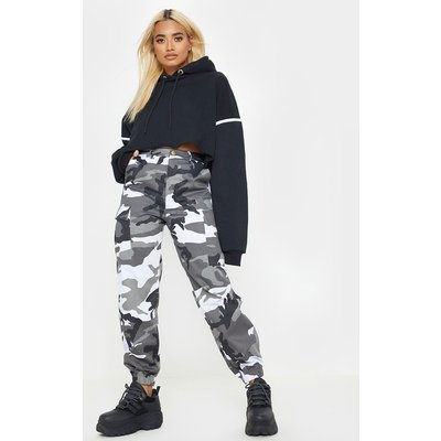 Petite Grey Camo Printed Cargo Trousers, Grey