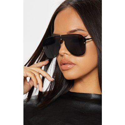 Black Oversized Aviator Sunglasses, Black