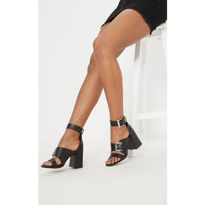 Black Big Buckle Block Heel Square Toe Sandal, Black