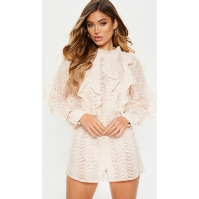 Dusty Pink Lace Frill Detail Long Sleeve Playsuit, Dusty Pink