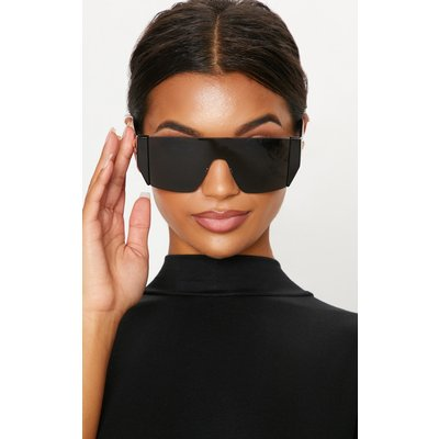 Black Flat Top Statement Sunglasses, Black