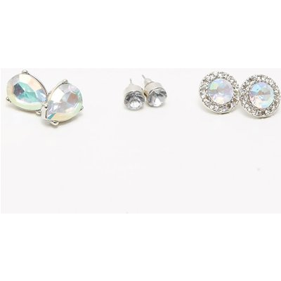 Silver Iridescent Gem Stud Earring Set, Grey