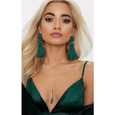 Emerald Green Acrylic Bead Tassel Earring, Emerald Green