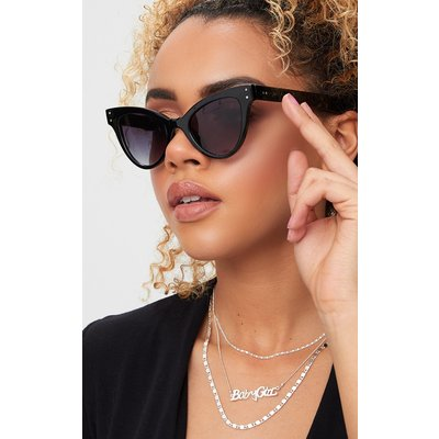 Black Acrylic Cat Eye Sunglasses, Black