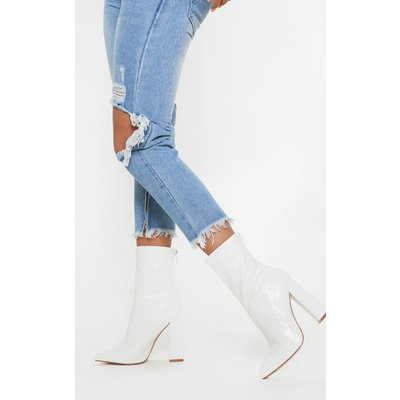White Croc Block Heel Point Boot, White