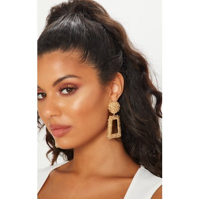Gold Chunky Textured Square Drop Door Knocker Earrings, Yellow
