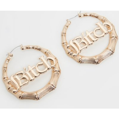 Gold Bitch Slogan Large Bamboo Hoops, Yellow