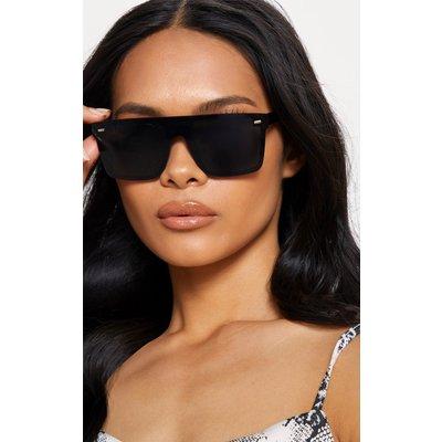 Black Oversized Resin Frame Fade Lens Sunglasses, Black