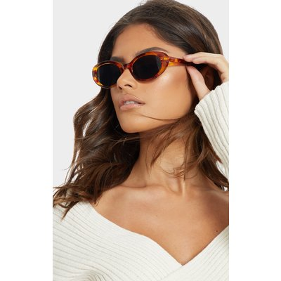 Brown Marble Effect Frame Oval Sunglasses, Brown