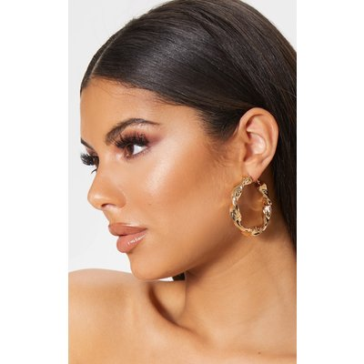 Gold Chunky Twist Hoop Earrings, Yellow