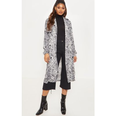 Tall Grey Snake Print Trench Coat, Grey