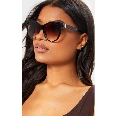 Black Oversized Cat Eye Tortoiseshell Sunglasses, Black