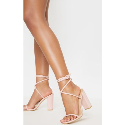 Dusty Pink Tube Strappy Block Heel Sandal, Dusty Pink