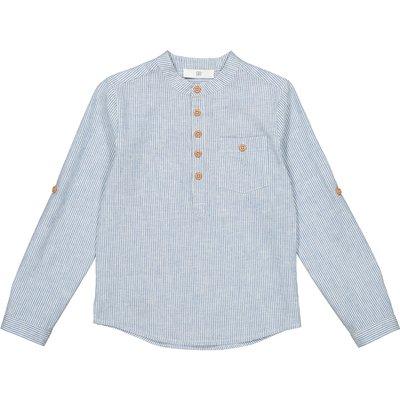 Striped Grandad Collar Shirt, 3-12 Years