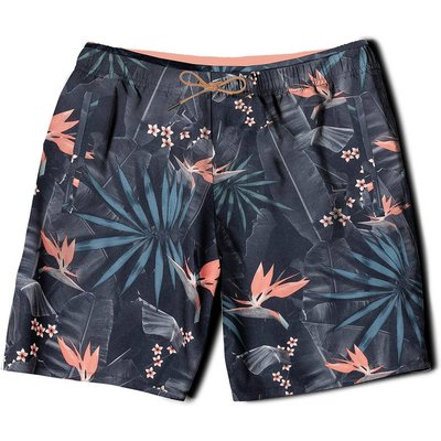 Villata Floral Print Boardshorts, Black