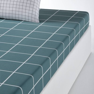 GERMAIN Check Print Cotton Fitted Sheet