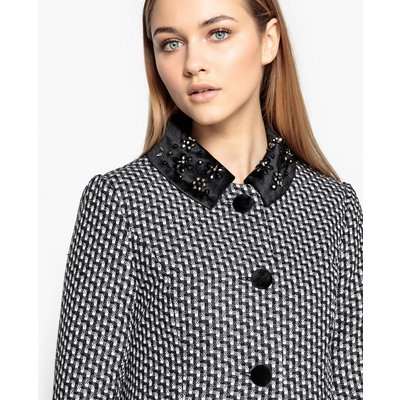 Wool Blend Printed Coat with Jeweled Collar, BLACK/WHITE