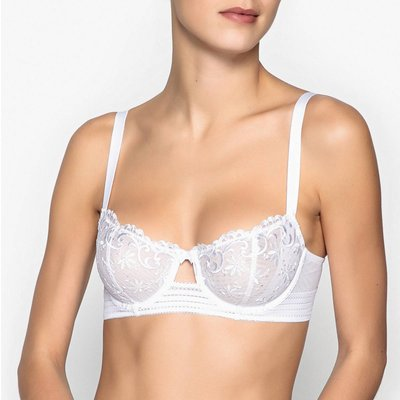 Embroidered Tulle Demi-Cup Bra