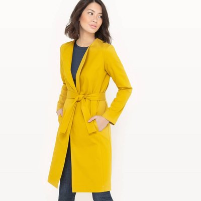 Long Belted Coat, celery yellow;black;burgundy