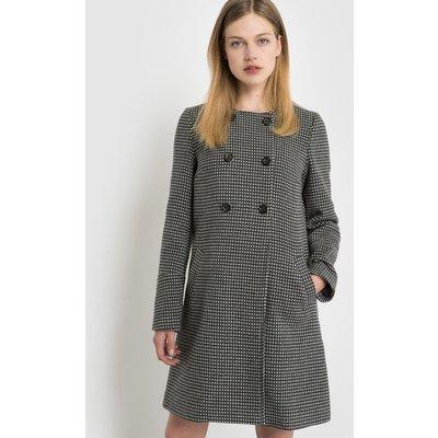 Double-Breasted Polka Dot Coat, BLACK/WHITE