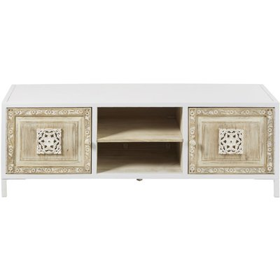 2-Door TV Unit in White Metal and Carved Mango Wood Mambok