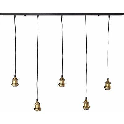Black and Brass Coloured Metal 5-Socket Pendant
