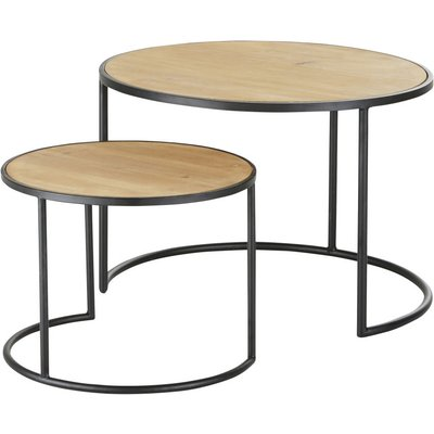 Black Metal and Fir Side Tables (x2)