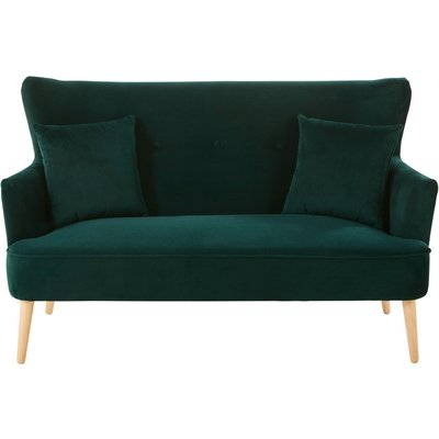 Green Vintage 2-Seater Velvet Sofa Leon