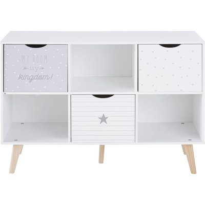 Grey and White Patterned 3-Drawer Storage Cabinet Dreams