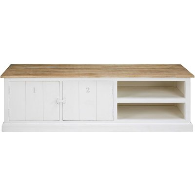 Grey and white solid mango wood 2-door TV unit Figuerolles