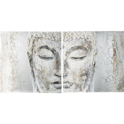 Hand-painted Diptych Canvas in Silver 97x194