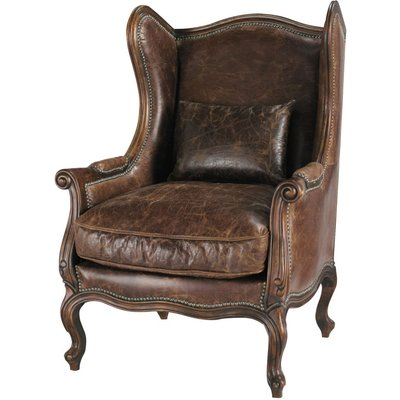 Leather Wing Armchair in Brown Manoir
