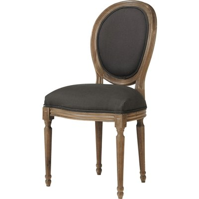 Linen and Solid Oak Medallion Chair in Black