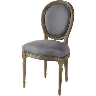 Linen and Solid Oak Medallion Chair in Grey Taupe Louis
