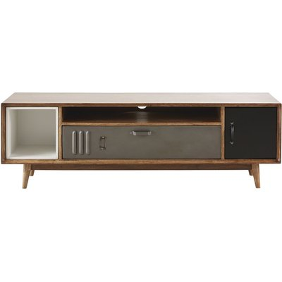 Mango Wood and Metal Industrial-Style 2-Door TV Unit Lenox