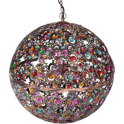 Multicoloured Ball Pendant Lamp in Copper Metal