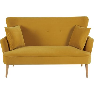 Mustard Yellow 2-Seater Velvet Sofa Leon